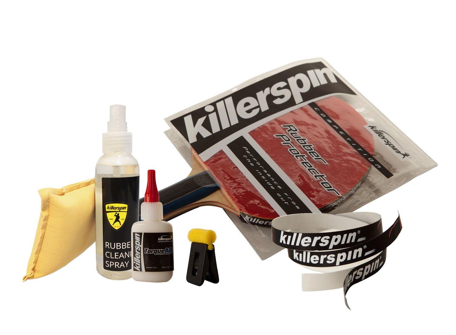 Killerspin Ping Pong Racket Care Bundle:rubber Cleaning Spray Kit, Rubber Protector, Side tape for 1 racket and Table Tennis Torque AQ Glue