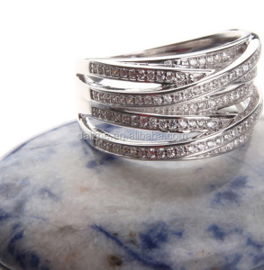 Hot selling China factory in Stock 925 sterling silver pave cz multi layer silver ring 925 sterling