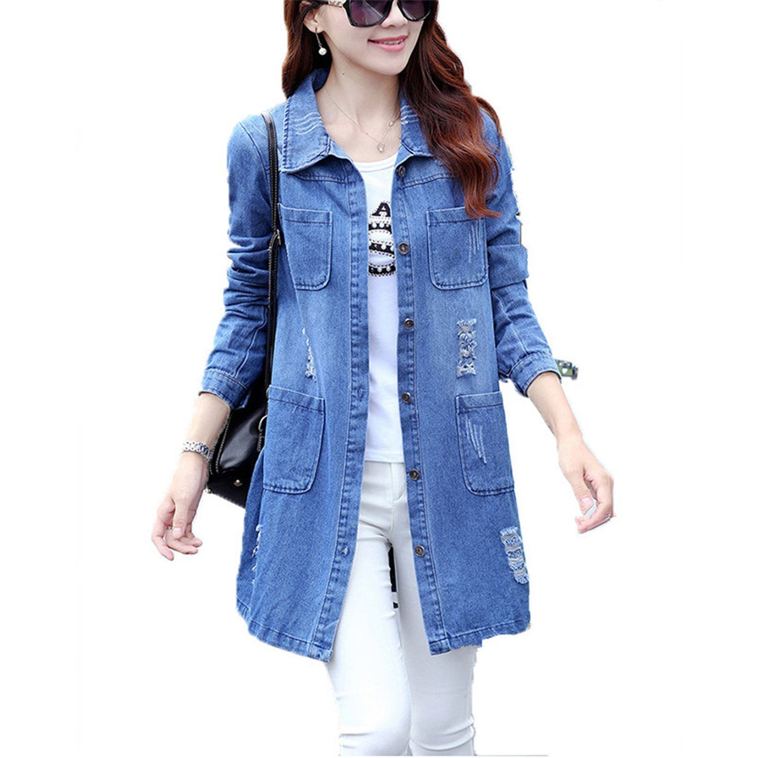 adbbce757b Get Quotations · Rising On Plus Size 5XL Denim Jacket Women Fashion Long  Sleeve Jeans Coat Female Casual Ripped
