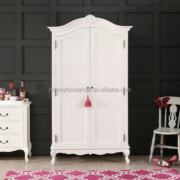 Wooden Almirah Designs In Bedroom French Chateau White Painted 2 Door  Double Wardrobe Armoire - Buy Wood Almirah Designs In Bedroom,Bedroom  Almirah ...