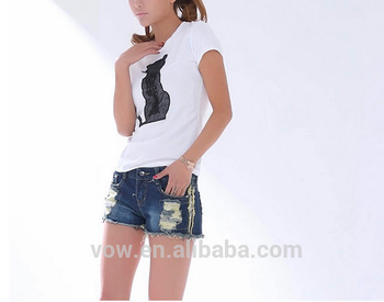 Neuesten designer zerrissenen jeans shorts, Modeschule mädchen cool  zerstört damen-shorts, Freizeit stil ccd74e1651