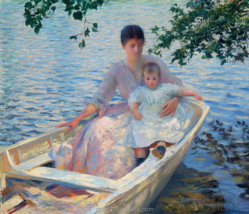 Edmund Charles Tarbell-Mother And Child In A Boat Newest Design Oil Painting