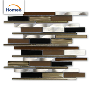 Striped Mirror Glass Aluminum Mosaic Building Material Brown Blend Mosaics