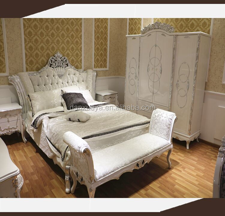 White Silver Leaf European French Bedroom Furniture Queen Size Bed ...