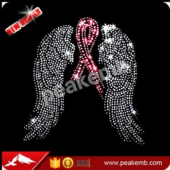 Breast Cancer Awareness Pink Ribbon With Wings Rhinestone Transfer