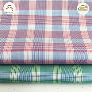 100% cotton woven yarn dyed gingham grid check dobby man shirt fabric in stock mercerized finished liquid ammonia