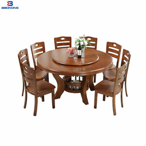 T623 Wooden Top Round Rotating Dining Table With Storage