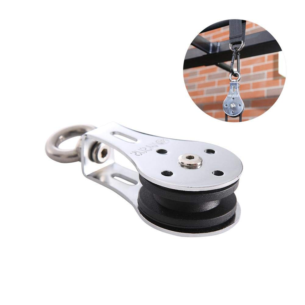 VOVI Bearing Lifting Pulley Stainless Steel Hanging Wheel Silent Hanging Wheel Fitness Wheel Mute Silent Wheel Rope Hauling Lifting Rescue Rock Climbing Tree Rigging Dragging Tension for Trainer