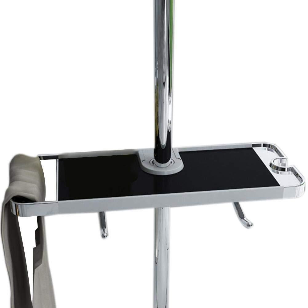 Bathroom Shower Rail Storage Shelf, Adjustable Multifunctional Bathroom Shower Rail Organizer with Hook for Soap Shampoo Shower Caddy Towel Toiletry - NO Drilling Wall Mounted, Suit 18mm - 25mm Rail