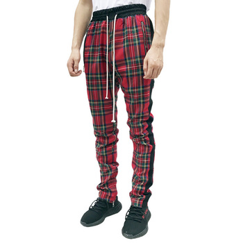 New men Run Jogging pants Muscular man Scottish style Contrast color Plaid stripe Street fashion pants Breathable GYM Sweatpants