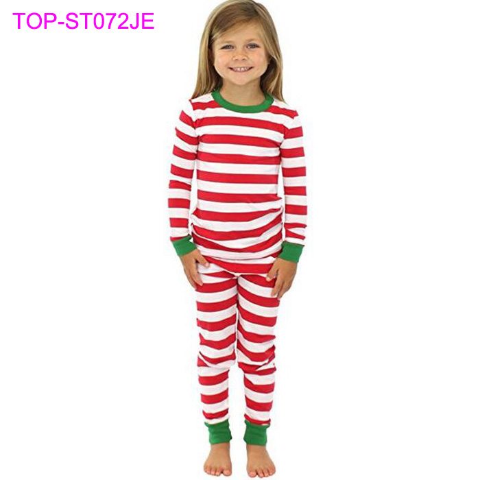 Winter Cotton Infant Pajamas Red White Stripes Top Match Pant Blank Kids Christmas Pajamas