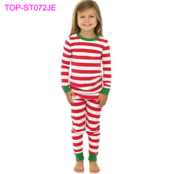 43be32cace32 Winter Cotton Infant Pajamas Red White Stripes Top Match Pant Blank Kids  Christmas Pajamas