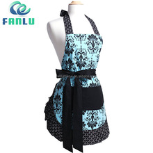 Women Wholesale Customized T/C Fabric Printed Kitchen Cooking Apron With Lace