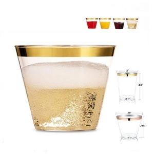 Amazon best selling Customized durable rose yard wedding 9 oz disposable clear cocktail cups party gold rim plastic cup