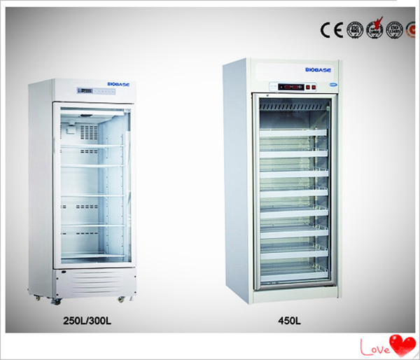 Biobase low price single glass door medical freezer blood bank refrigerator(250L 300L 450L)