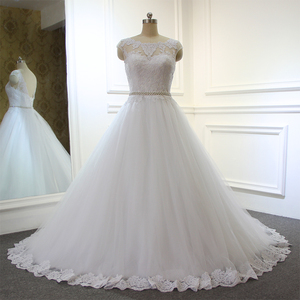 Amanda Novias Cap Sleeve Lace Appliqued Pearls Belt Low Back indian groom Wedding Dress