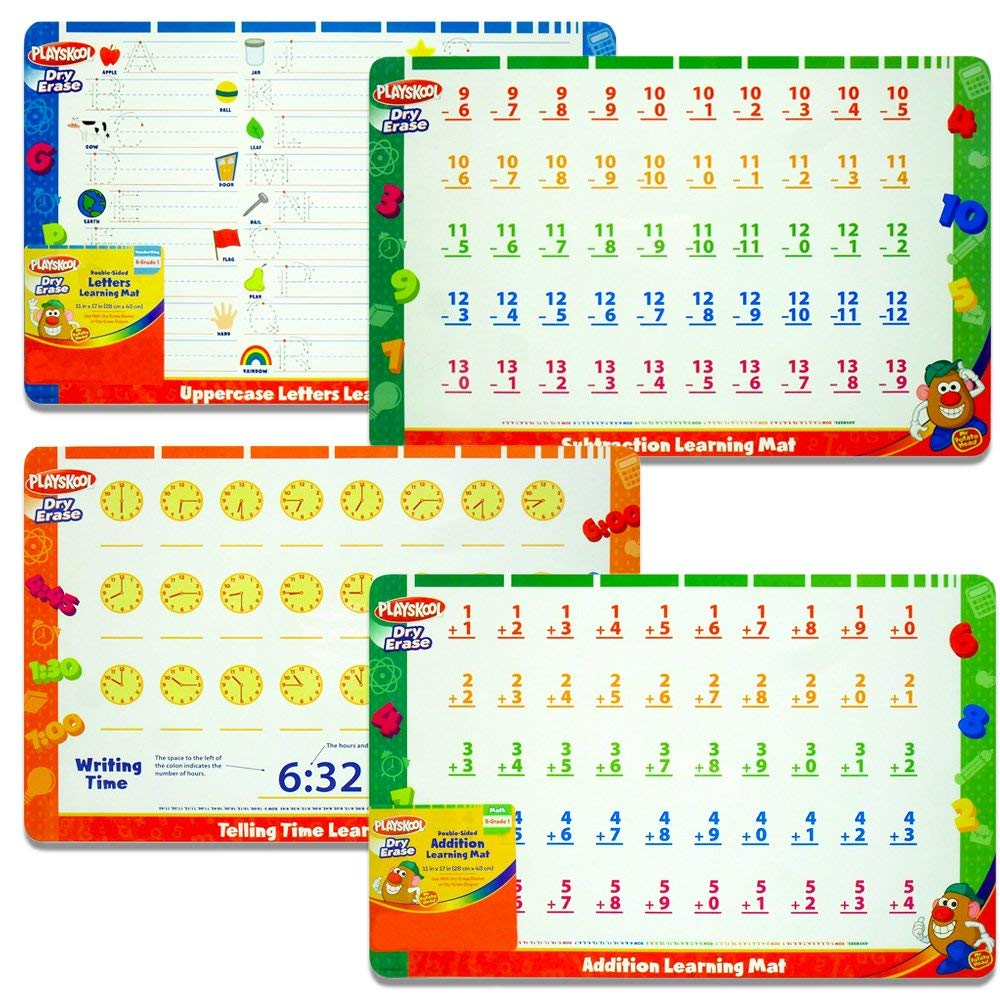 Playskool Dry Erase Learning Mats -- Set of 4 Double-Sided Write and Wipe Mats for Kindergarten to Grade 1 (Addition, Subtraction, Letters, Telling Time)