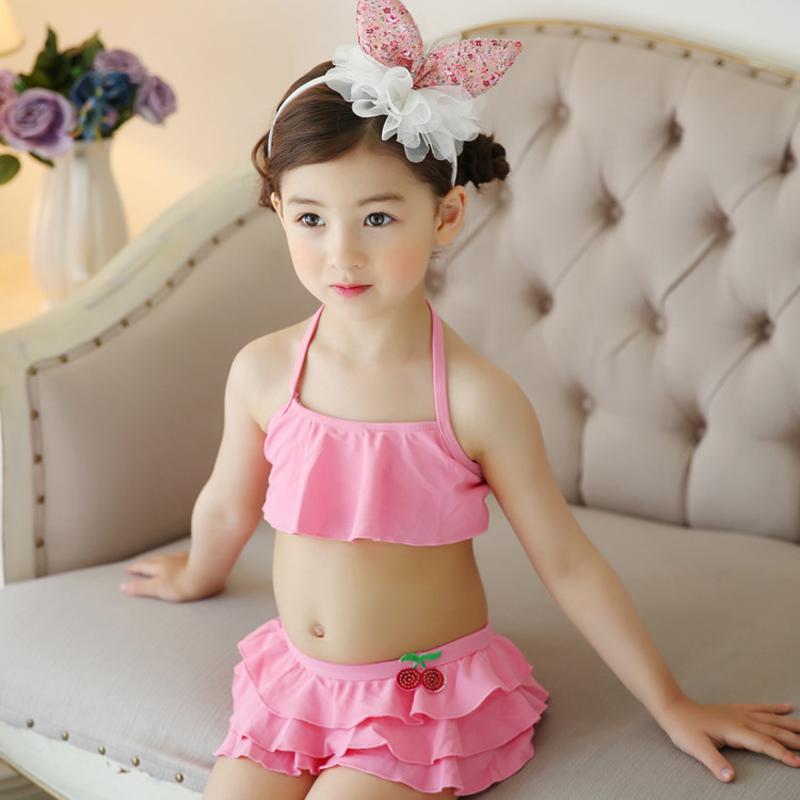 da77da23e8 Hot Sale Summer Children Baby Girls 2pcs Swimsuit Pink Top + Swimming  Trunks Kids Swimwear Costume Bikini-in Children's Two-Piece Suits from  Sports ...