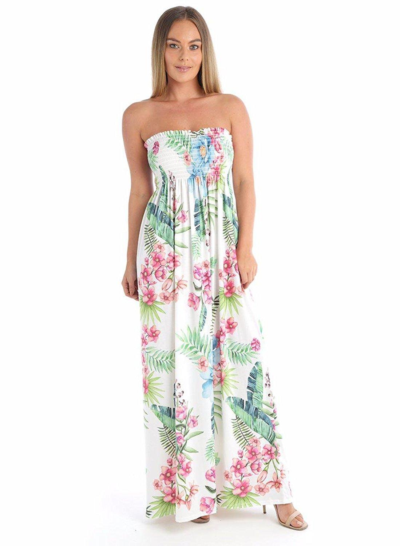 c4be330a319 Get Quotations · Hi Fashionz Girls Ladies Women New Leaf Print Beach  Sheering Gather Boob Tube Bandeau Maxi Dresses