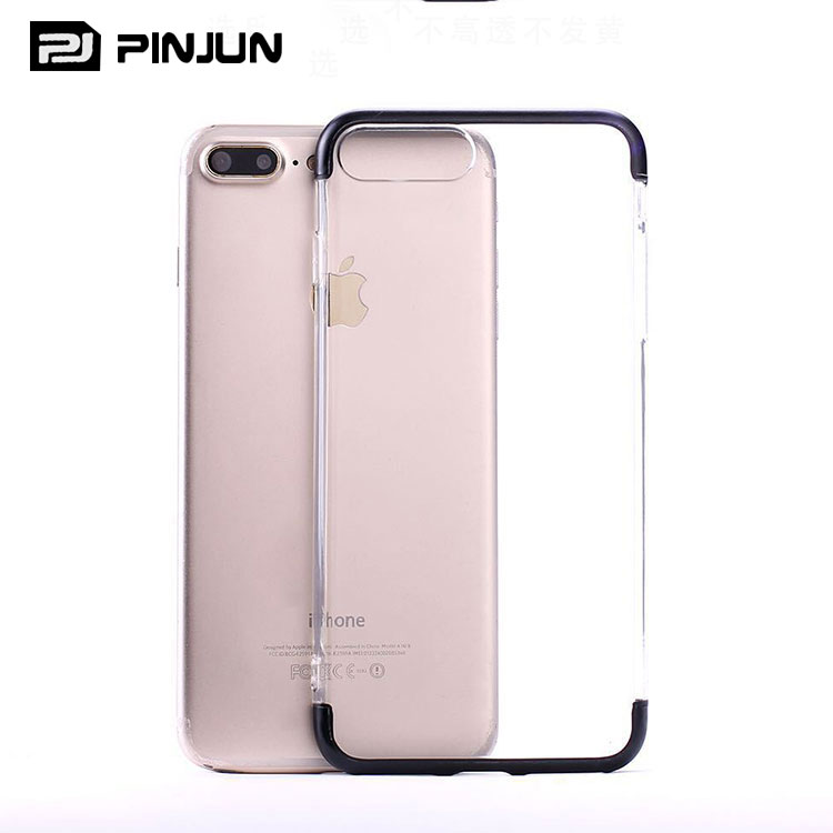 New popular clear tpu+pc colored corners bumper phone case for iphone 7 plus transparent cover