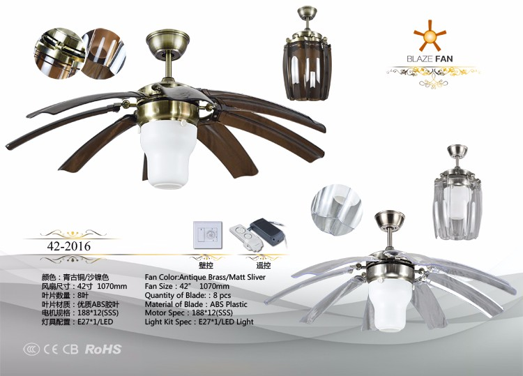42 inch ceiling fan with hidden blades E27 LED light 8pcs ABS plastic blade 188*12 moter 42-2016