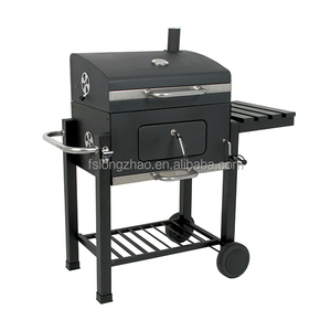 Trolley Outdoor Charcoal Grill Adjustable Height Charcoal Bbq