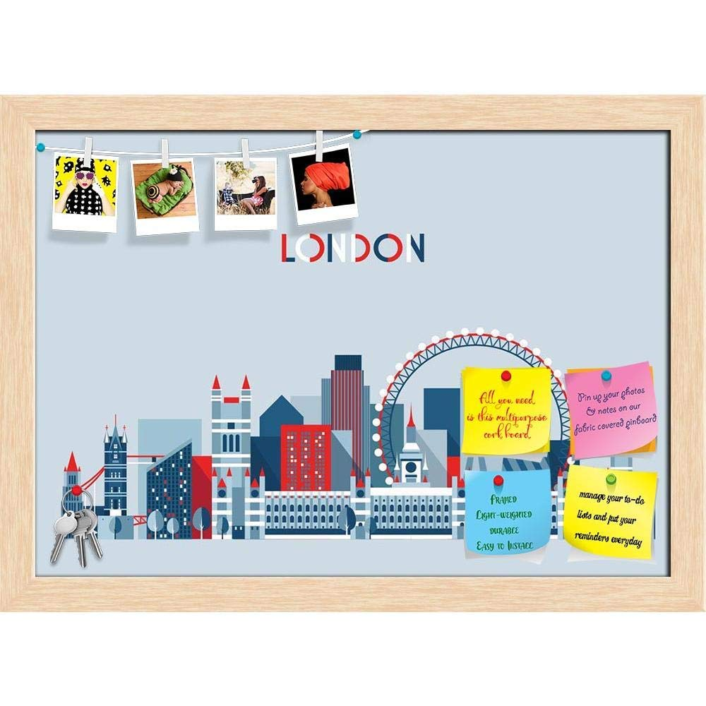 ArtzFolio England City Skyline Vector, London, UK Printed Bulletin Board Notice Pin Board Cum Natural Brown Framed Painting 16.6 x 12inch