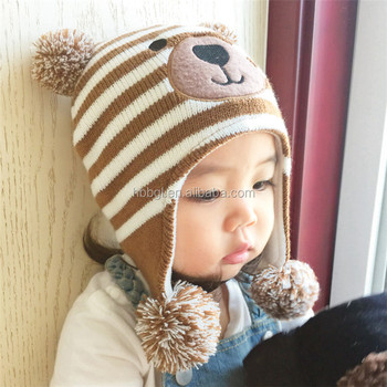 Childrens Cute Animal Beanie Hat With Earflaps Pattern And Poms