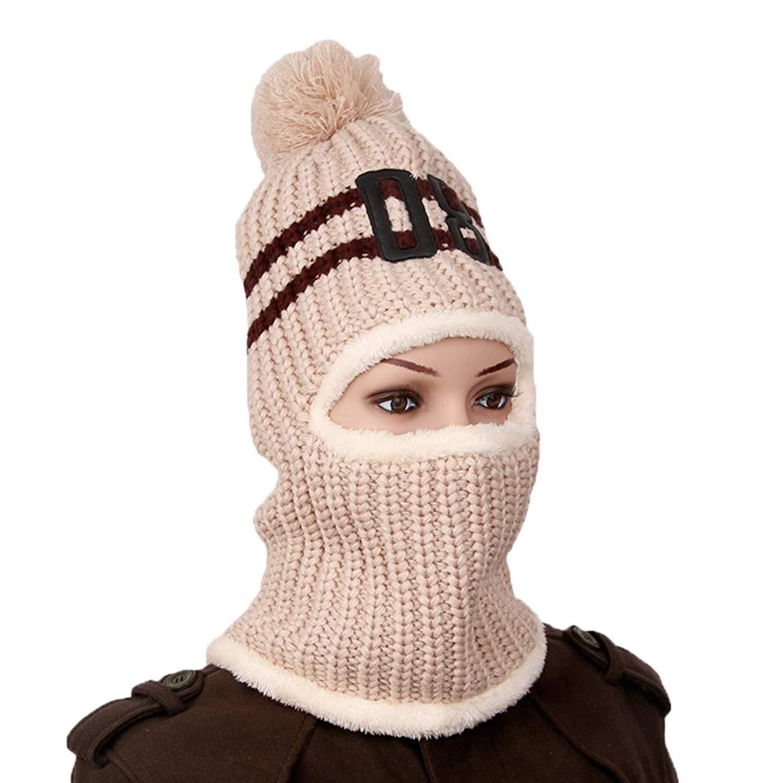 fef442407b8d2 Get Quotations · ShiningLove Women Woolen Yarn Knit Hat Scarf Number  Pattern Thick Warm Earflap Cap
