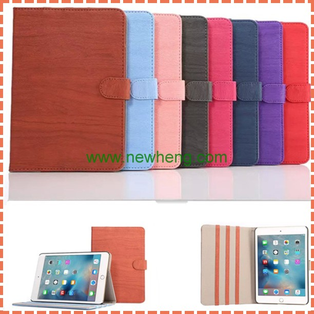 Luxury Wood Grain Foldable Flip Stand Leather Case Smart Cover For Ipad Mini4