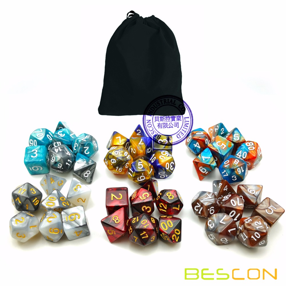 Bescon New Style 6X7 42pcs Polyhedral Dice Set, 6 Unique Shiny Two-Tone Gemini Polyhedral 7-Die Sets Dungeons and Dragons DND фото