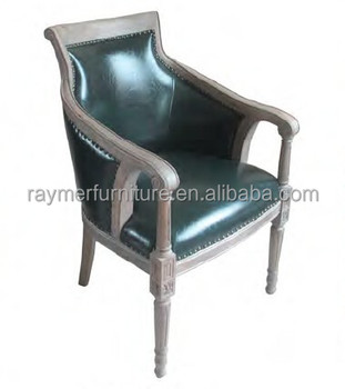 french solid wood frame dark green leather carved armchair for restaurant