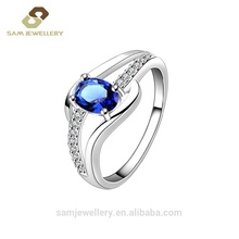 New Design 핫 세일 925 Sterling Silver Fashion Blue Sophia Cubic 지르콘 Women's 링 Jewelry