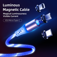 wholesale magnetic fast charging usb cables flowing light phone accessories cable usb led luminous micro lighting data cables