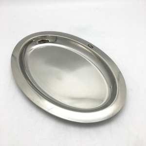Hotel oval style stainless steel food plate/food dish/serving plate