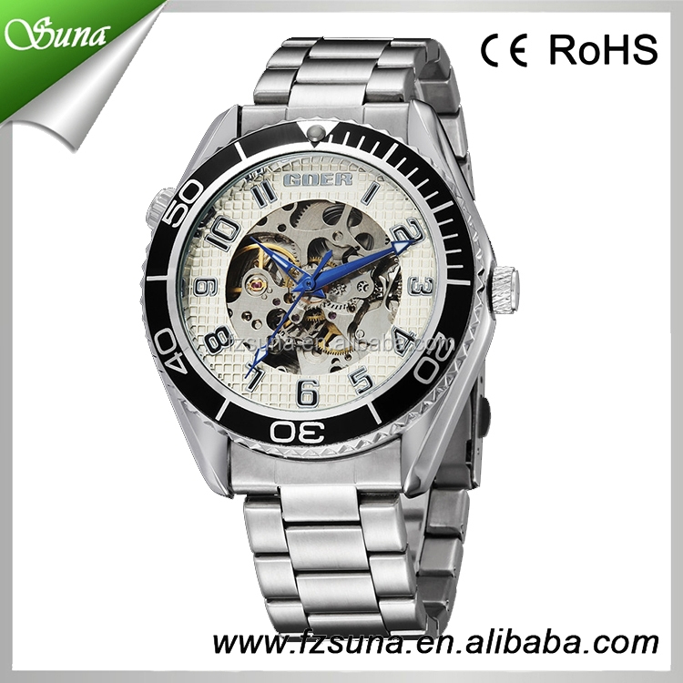 Hot Moving Design Goer Brands Fashion Stainless Steel Men Royal Watch Luxury