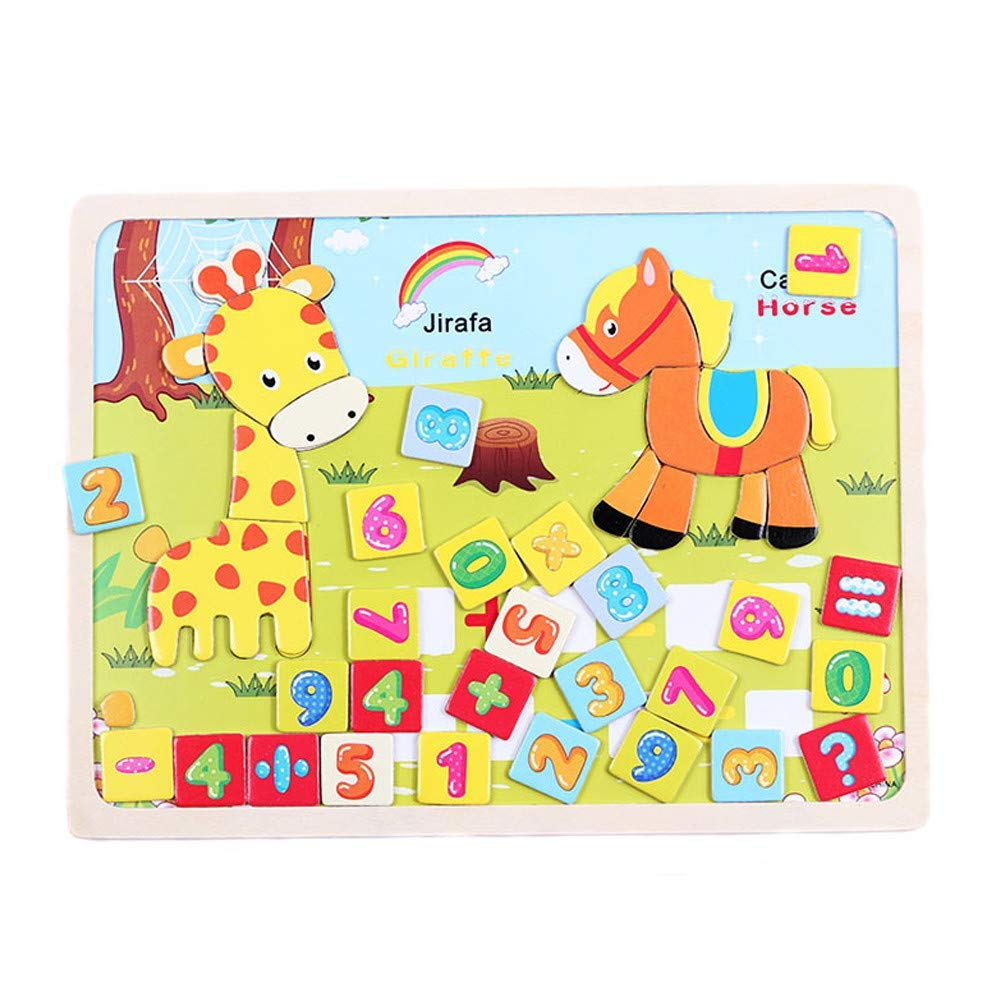 Gbell Animal Wooden Puzzle Set - Colorful Number Counting Jigsaw Toys for Toddlers,25×21×0.4CM Jigsaw Board Educational Toy Gift for 1-5 Year Old Baby Girls Baby Boys Kids