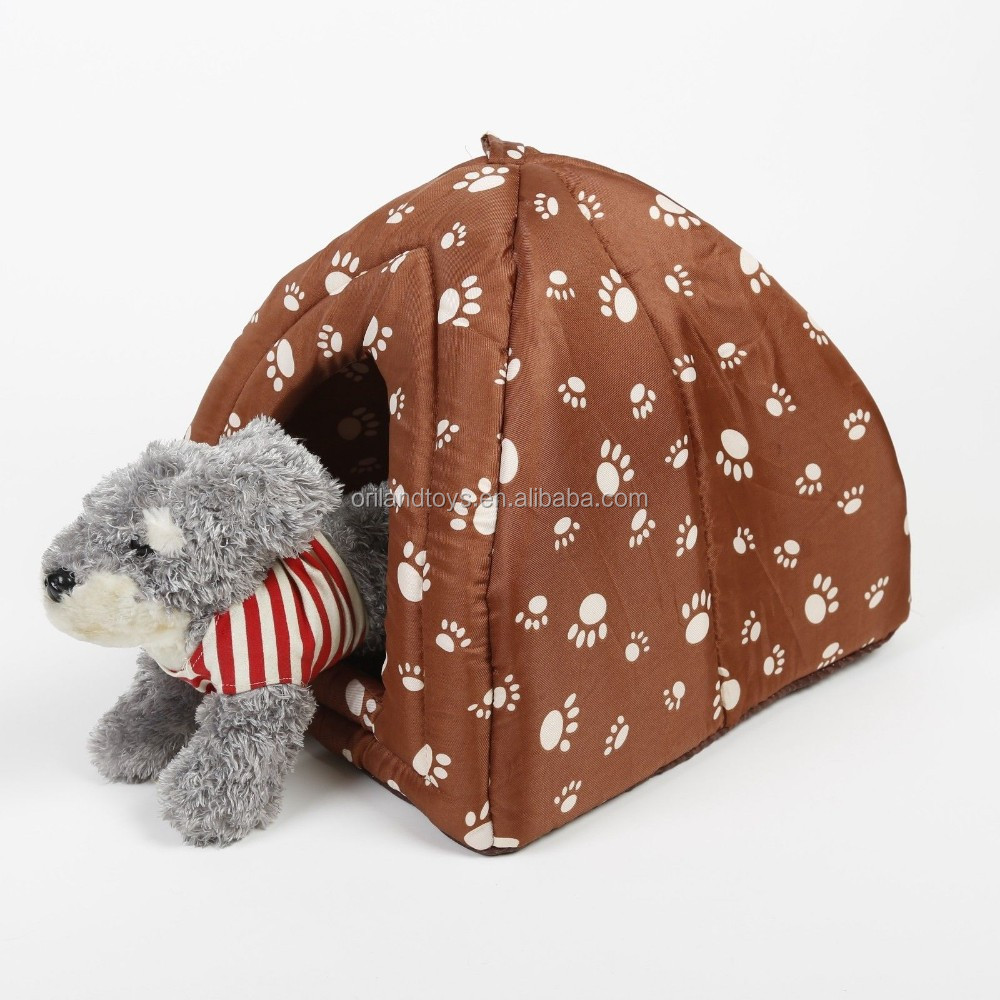 Warm soft pet dog cat bed indoor house Brown