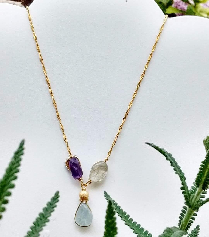 Handmade, Gemstone, Necklace, quartz amethyst, Rutilated Quartz, aquamarine, and 14k gold plated chain