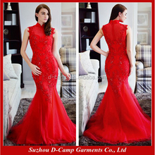 WD161 FAshion crystal beaded lace and tulle qipao chinese wedding dress mermaid