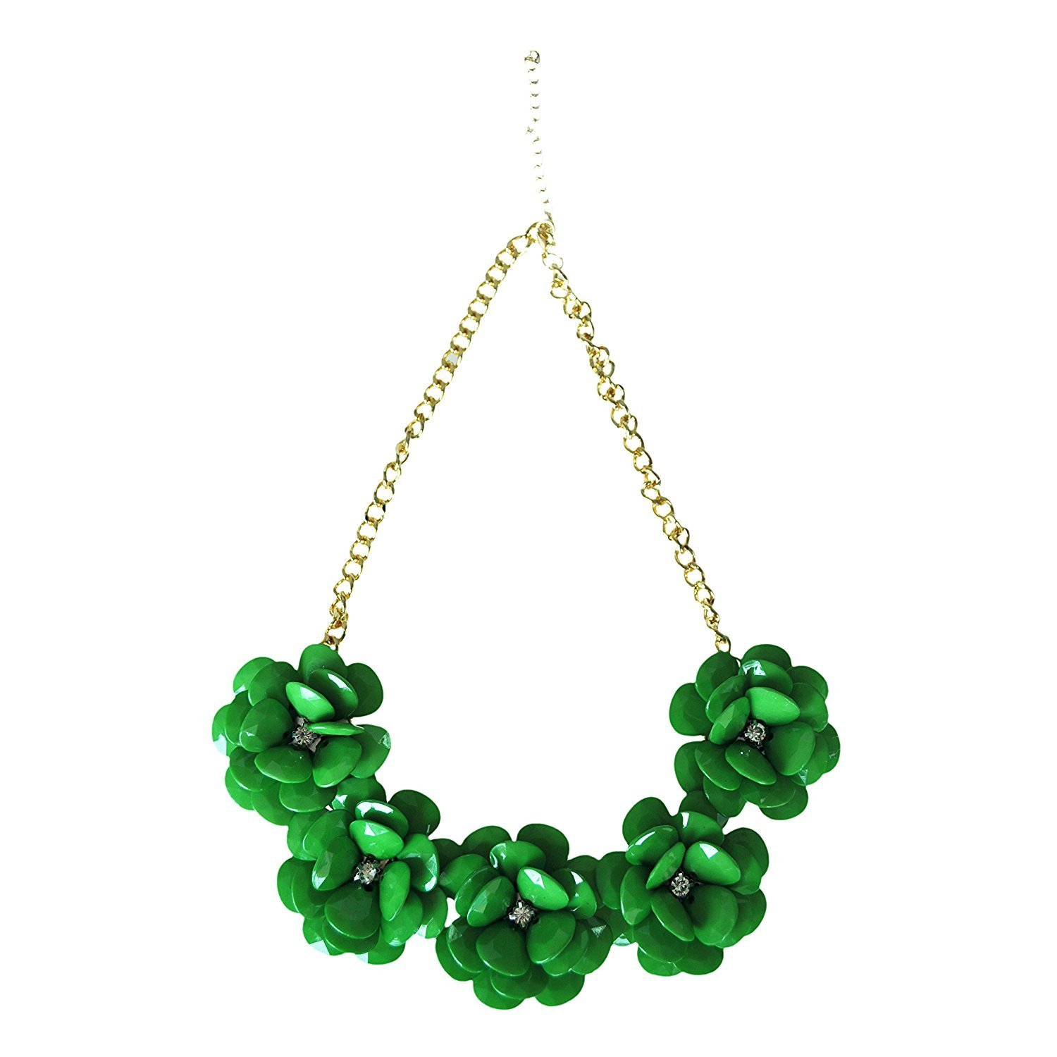 LUQUAN Most Fashion Jewelry Zinc Alloy With Acrylic Perfect Five Flower Necklace Necklaces & Pendants Green