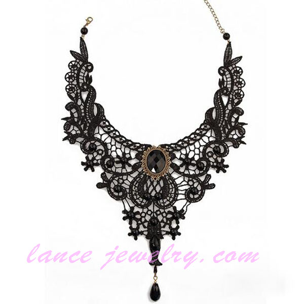 retro black lace gothic full neck covering necklace design
