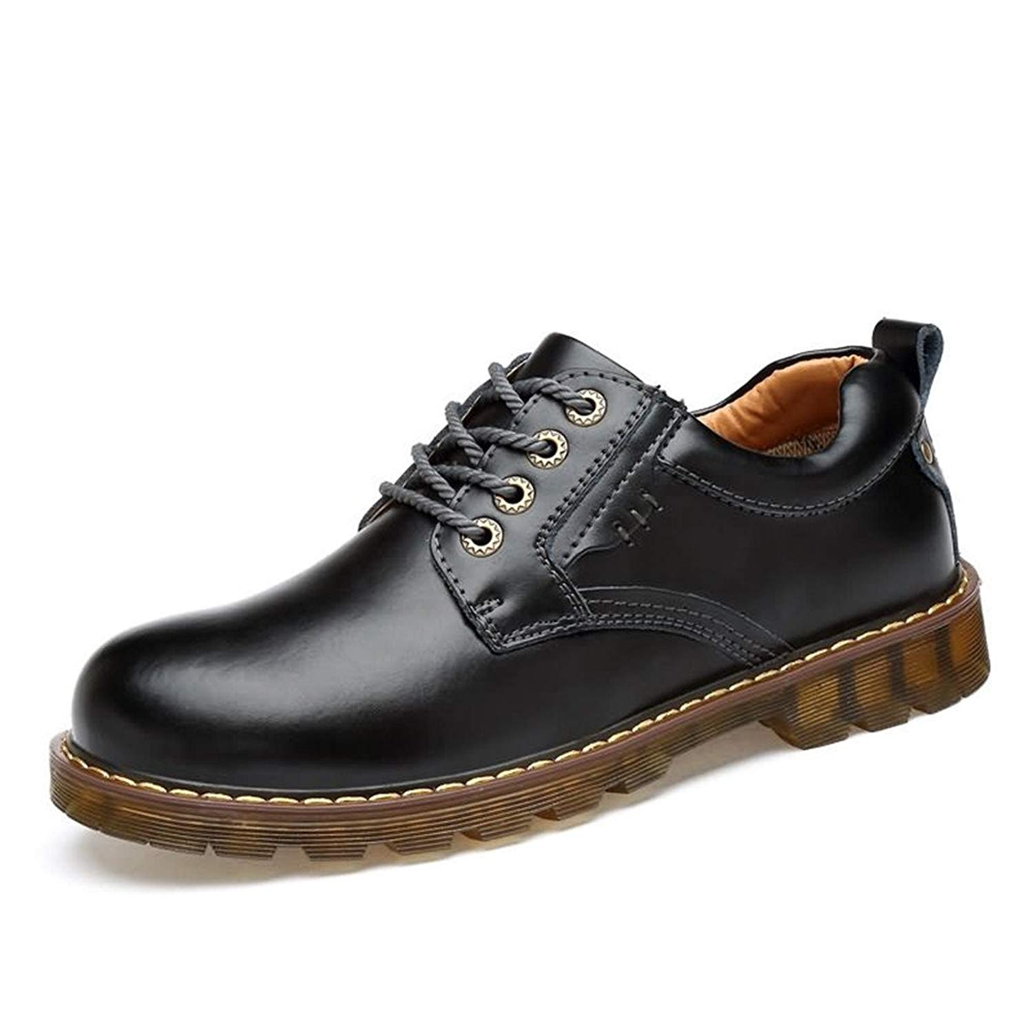 Muyin Men's Oxfords Flat Heel Solid Color Lace up PU Leather Formal Shoes