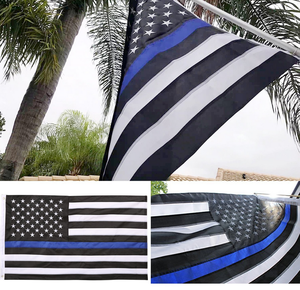 Thin Blue Line 3X5 FT American Flag Embroidered Stars United State Flag