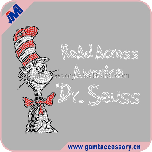 Wholesale Custom Cartoon Dr seuss Iron On Rhinestone heat transfer for garments