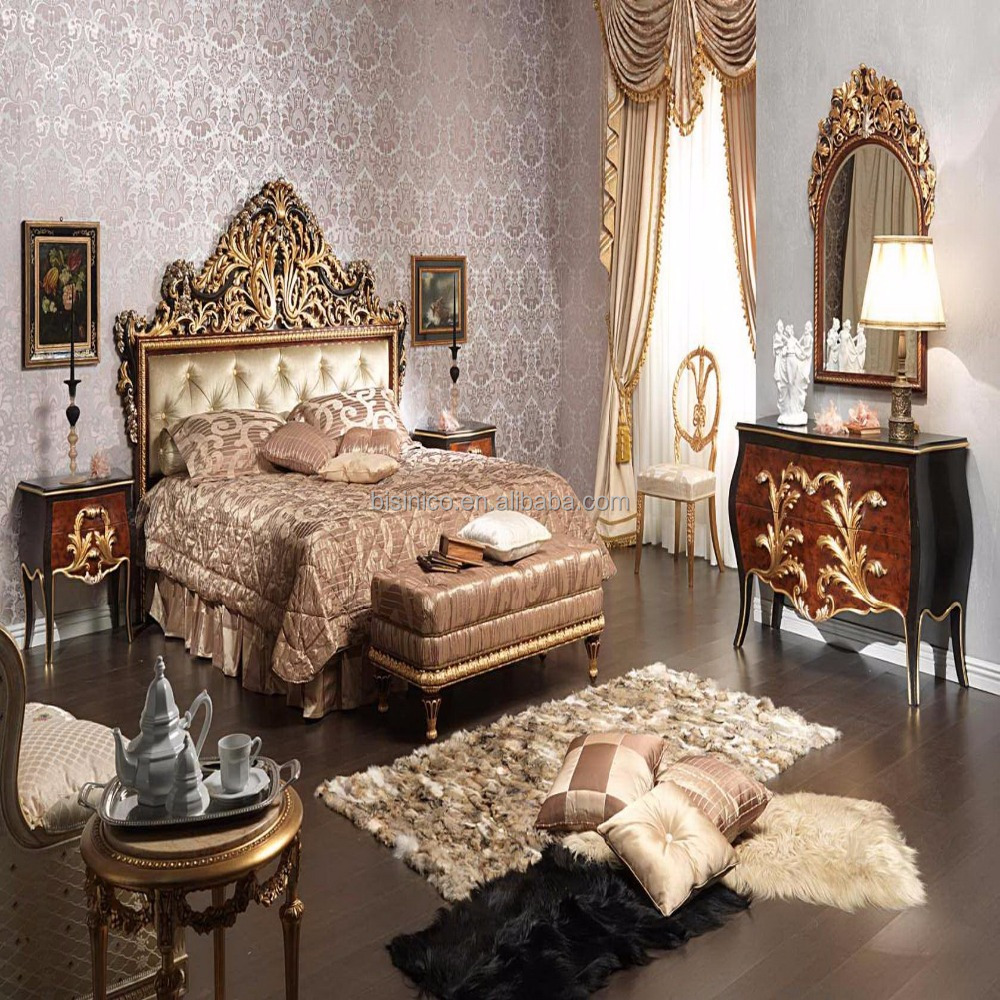 French Clic Carved Wood Black Over Gold Bedroom Furniture High End Carving Bed For Villa