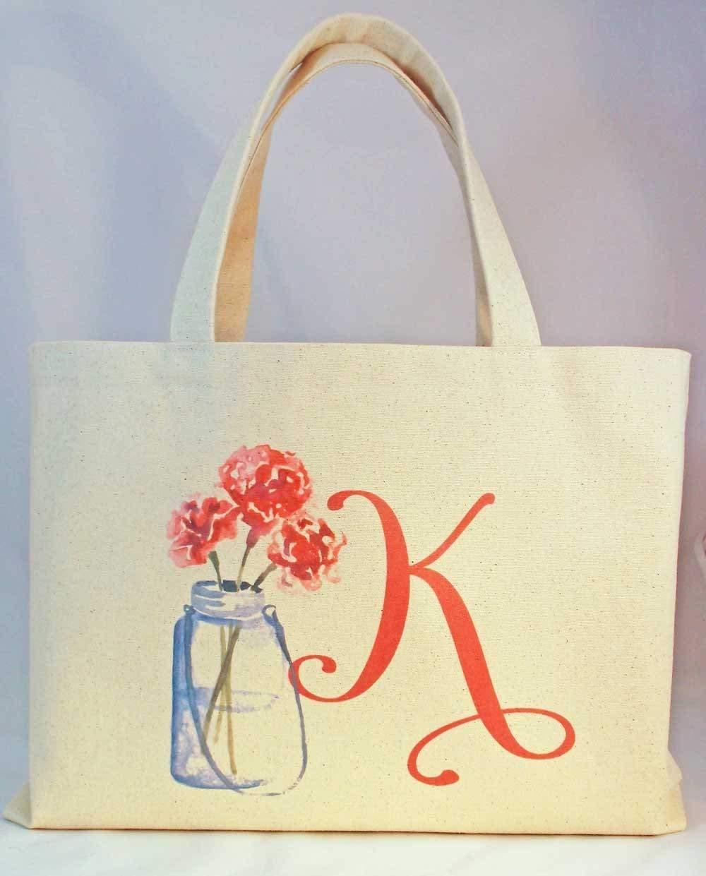 """Rustic Wedding Mason Jar Personalized Bridesmaid Beach Bag Tote, Bridesmaid Gift, Barn Wedding Welcome Gift Bag, Personalized canvas bag, Size is 18"""" wide and 11.25"""" tall with 10"""" drop handles"""