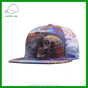 2fca29ff1ee wholesale custom 5 panel hip-hop 3D heat tranfer printing skull head snapback  cap