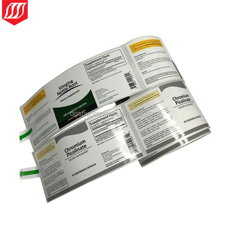 High gloss BOPP Perlized film labels ,white BOPP vinyl adhesive label stickers packed in roll
