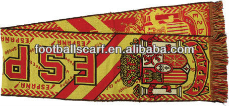 Woven Jacquard Soccer Scarves Wholesale 100% Acrylic Customized Woven Jacquard Scarf Designs
